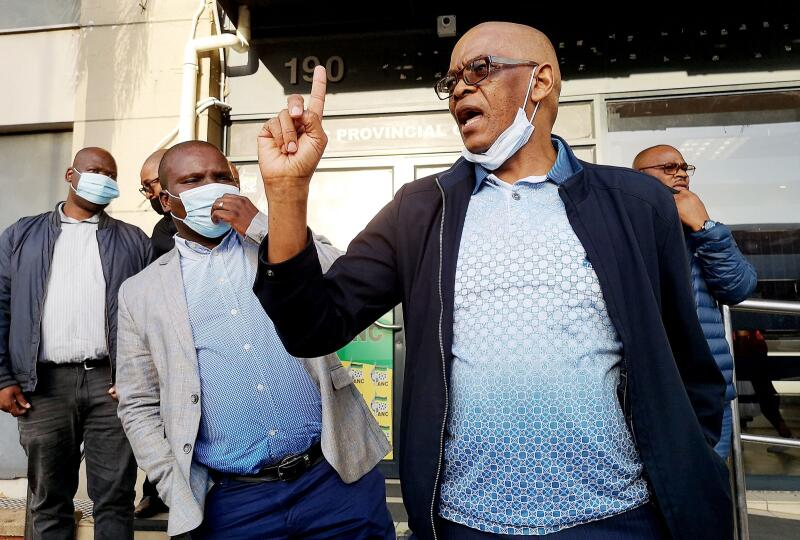 Ace Magashule leaves a meeting.