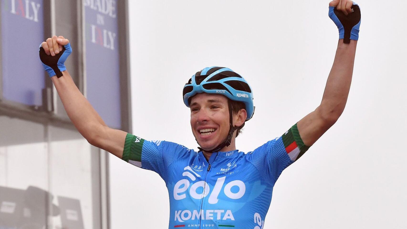 Eolo-Kometa Cycling Team rider Lorenzo Fortunato of Italy celebrates after winning Stage 14 of the Giro d'Italia