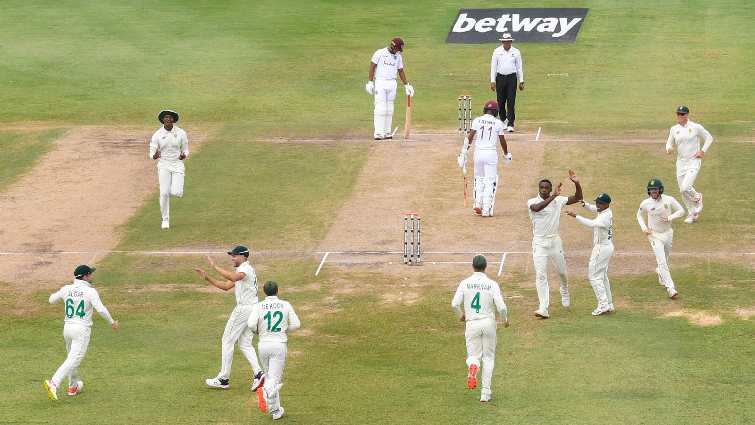 The Proteas celebrate the dismissal of Kraigg Brathwaite of the West Indies on day four of the second Test at Darren Sammy Cricket Ground, Gros Islet, Saint Lucia, on Monday