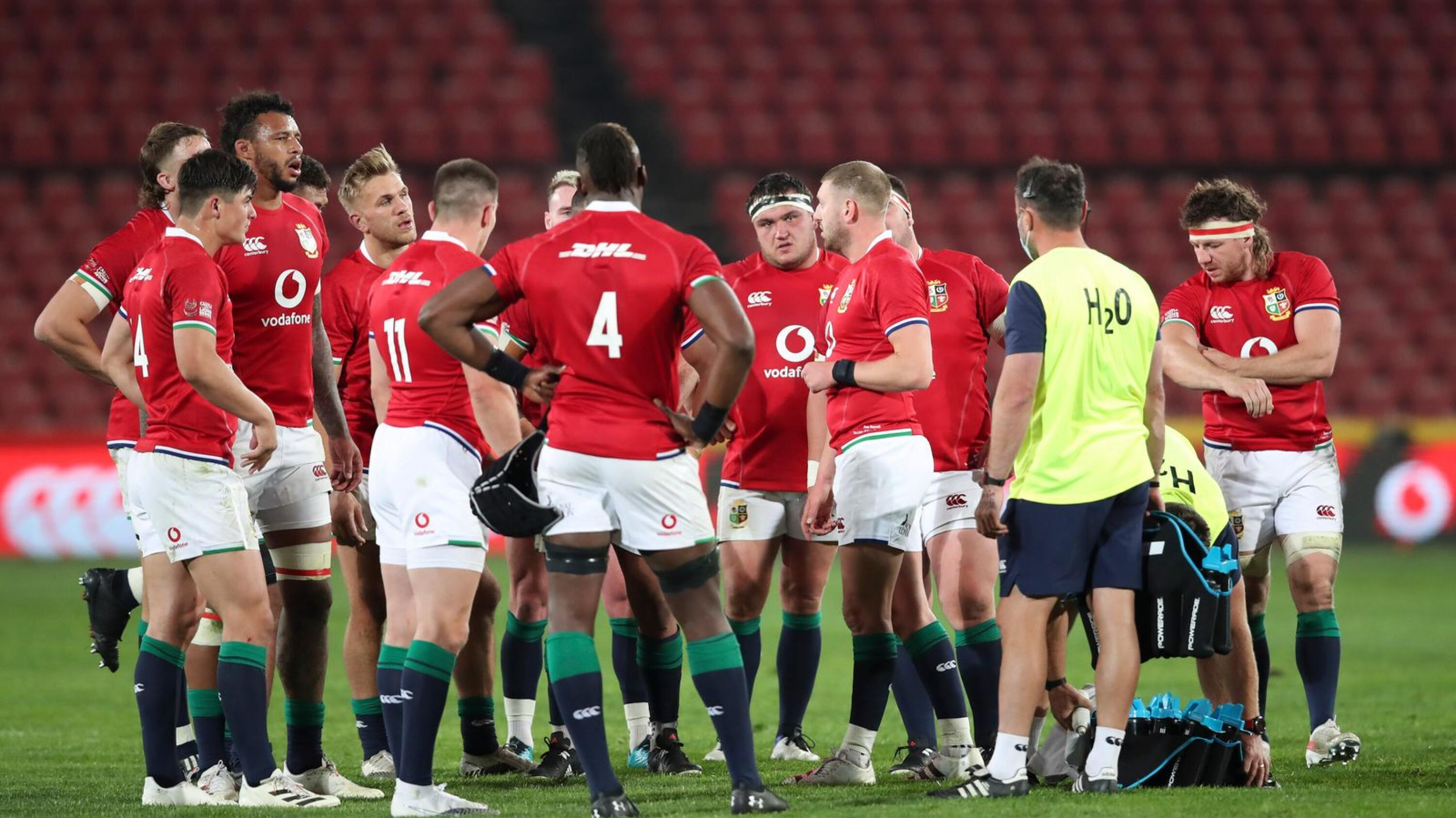 British and Irish Lions players huddle during their game against the Lions last weekend