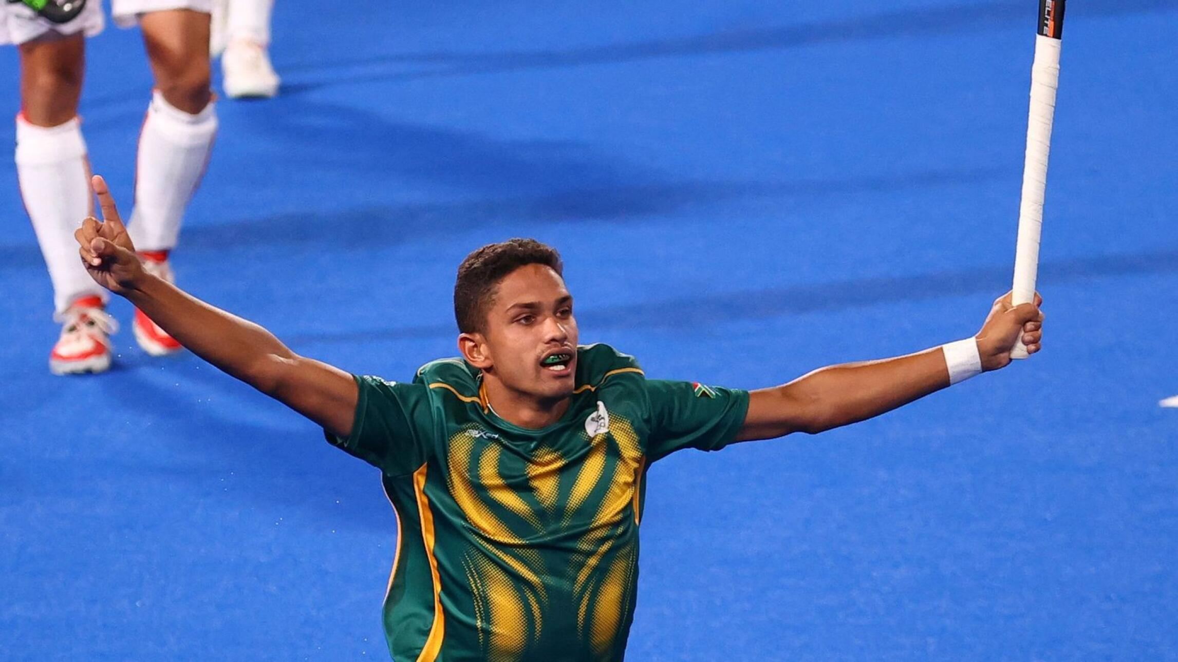 South Africa's Dayaan Cassiem celebrates after scoring against Belgium at the Tokyo Olympics
