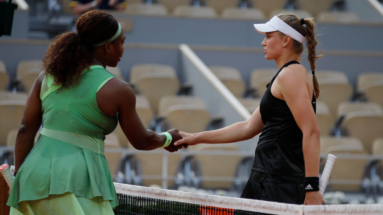 Serena Williams of the US shakes hands with Kazakhstan's Elena Rybakina
