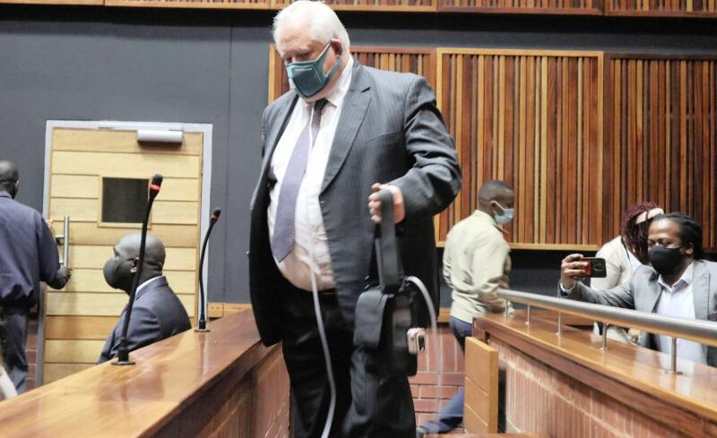 Angelo Agrizzi appears in court carrying his oxygen tank.