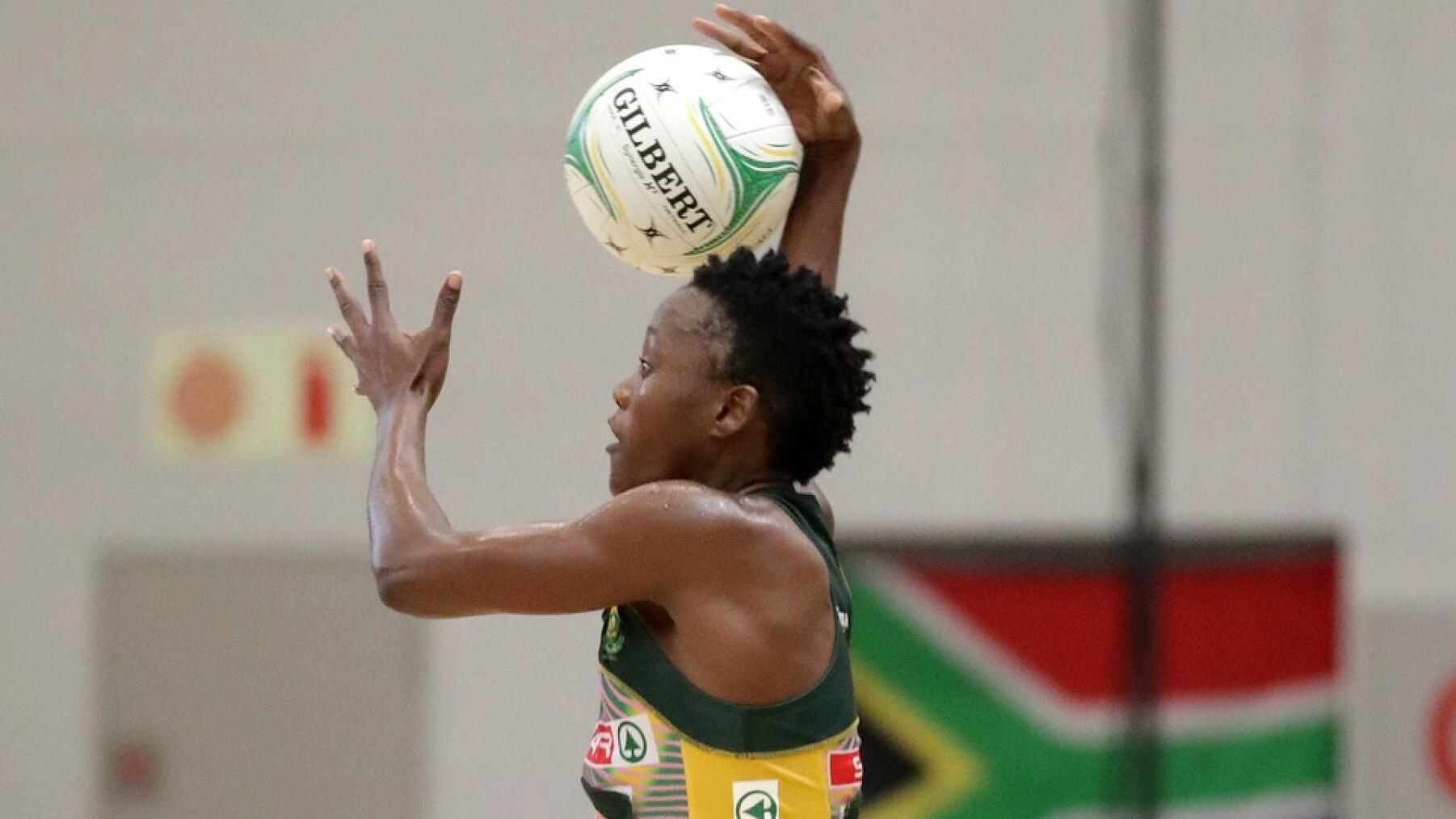 Bongi Msomi captain of South Africa in action against Uganda