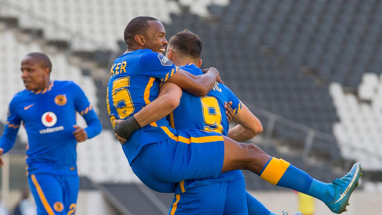 Kaizer Chiefs' Samir Nurkovic celebrates with Bernard Parker