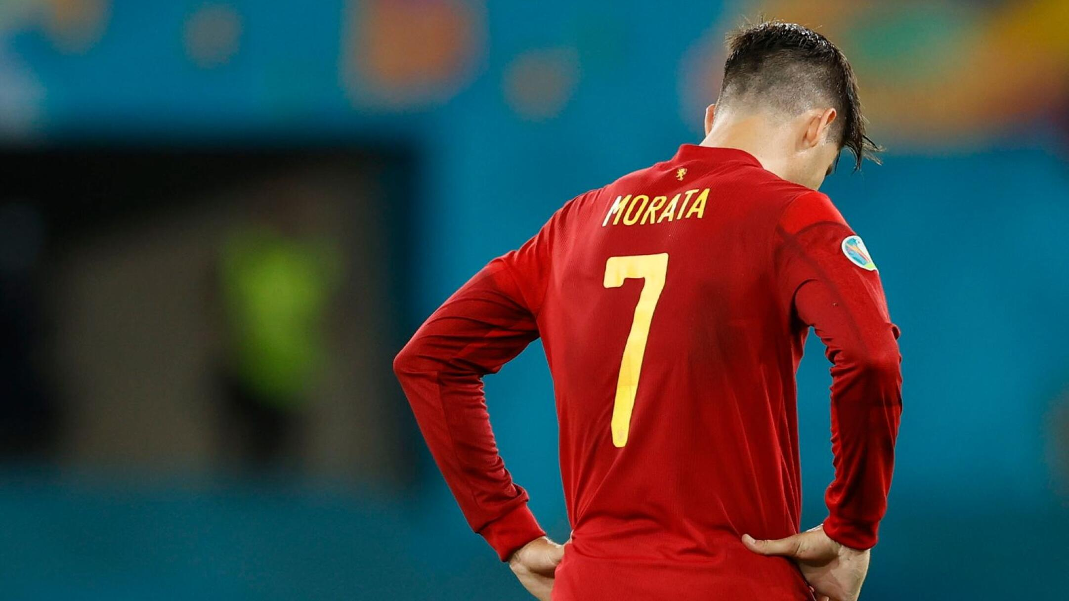 Spain's Alvaro Morata looks dejected at the end of their Euro 2020 match against Poland on Saturday