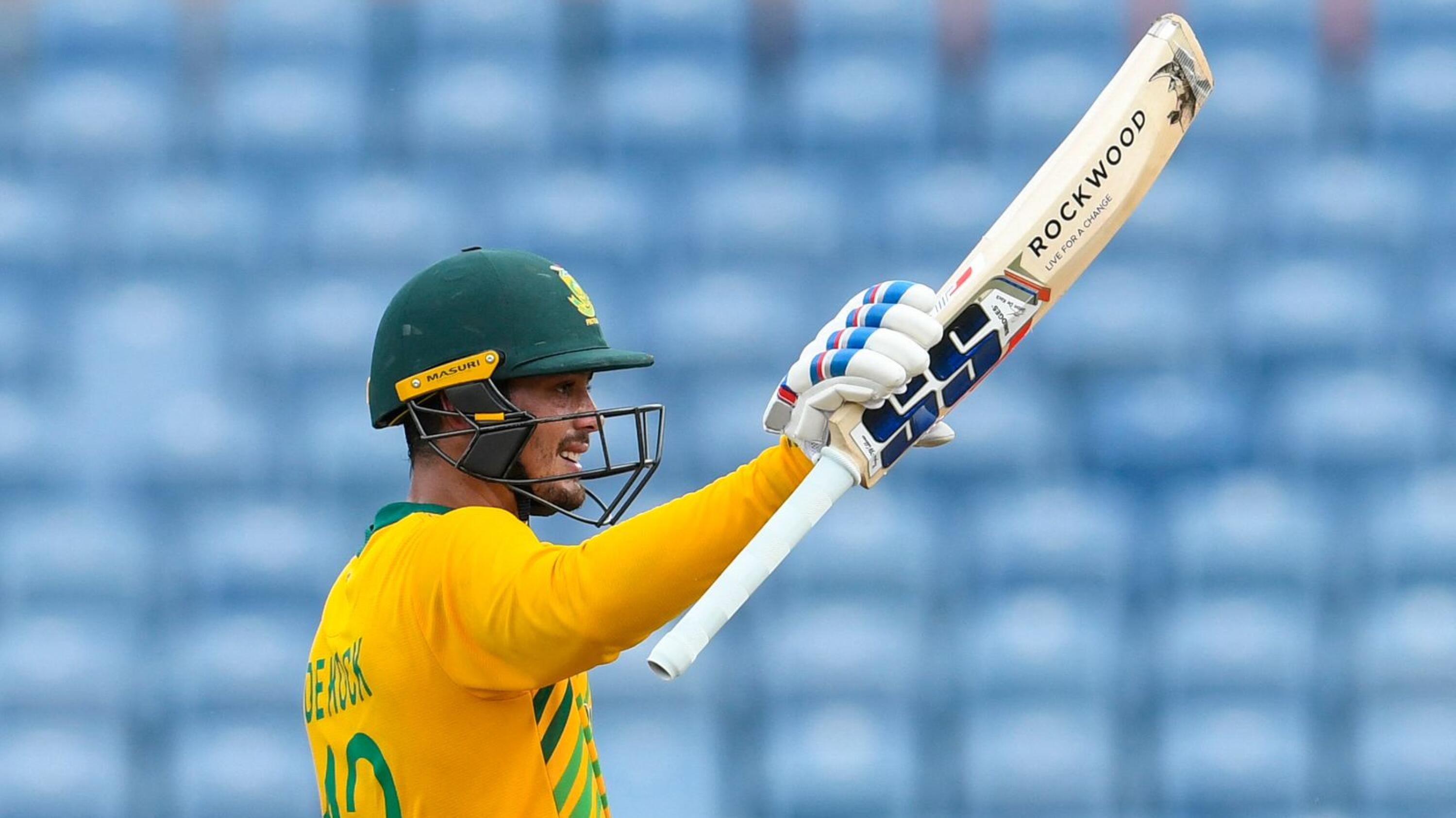 Quinton de Kock of South Africa celebrates his half century during the 5th and final T20I against the West Indies