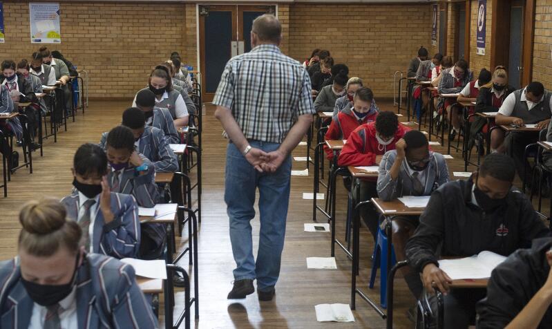 Grade 12 pupils writing exams.
