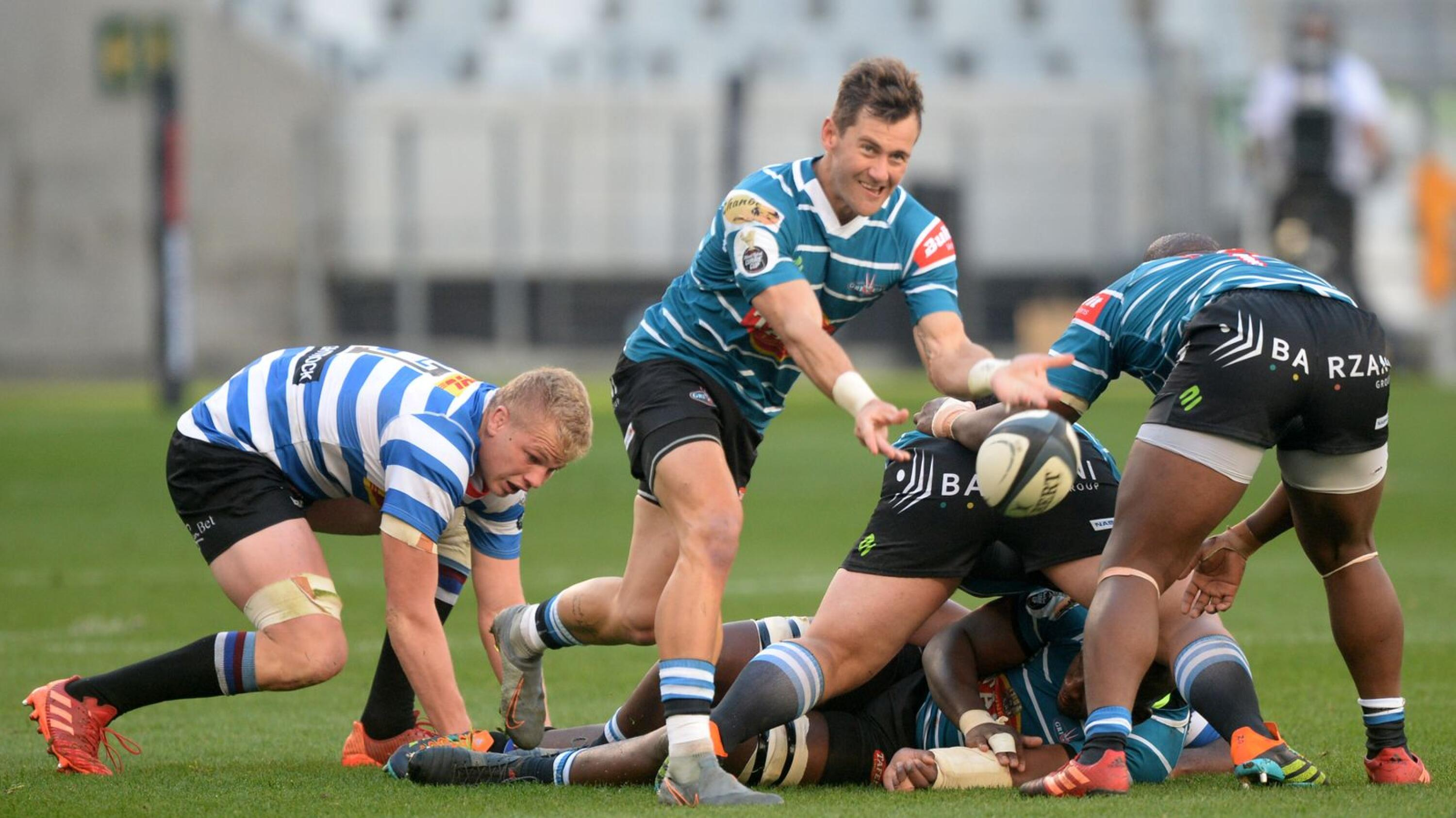 Stefan Ungerer of Griquas gets the ball away during their Currie Cup game against Western Province at the Cape Town Stadium on Wednesday evening