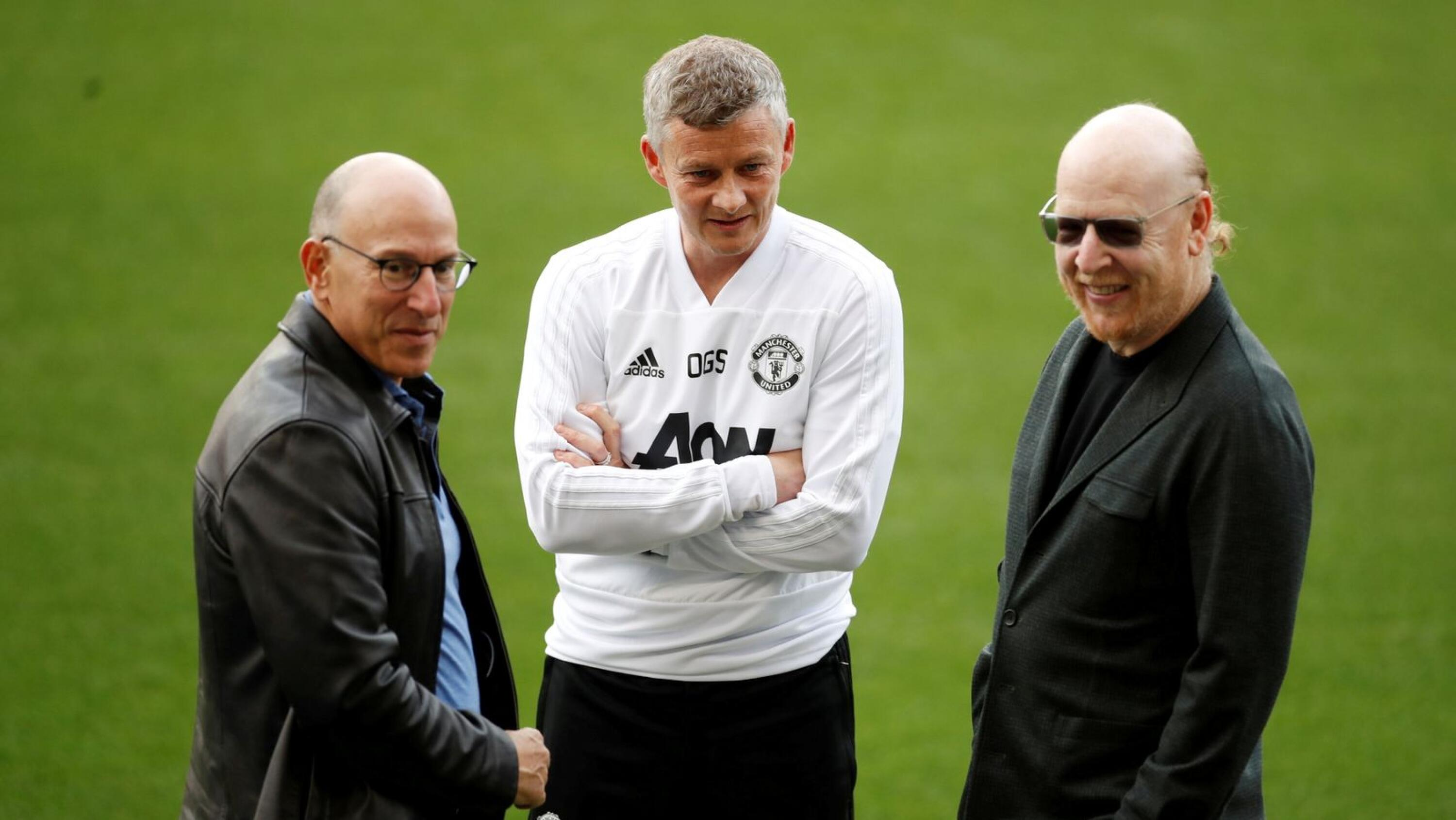 Manchester United manager Ole Gunnar Solskjaer with co owners Joel and Avram Glazer