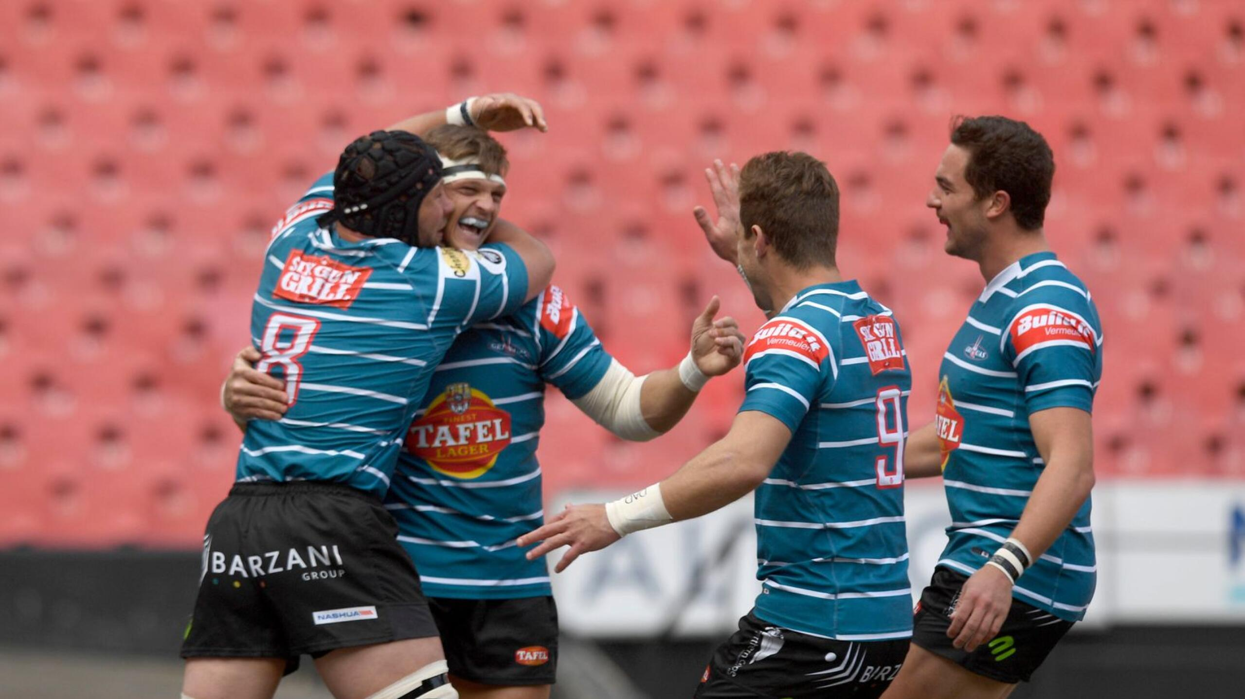 Griquas players clebrate one of their five tries