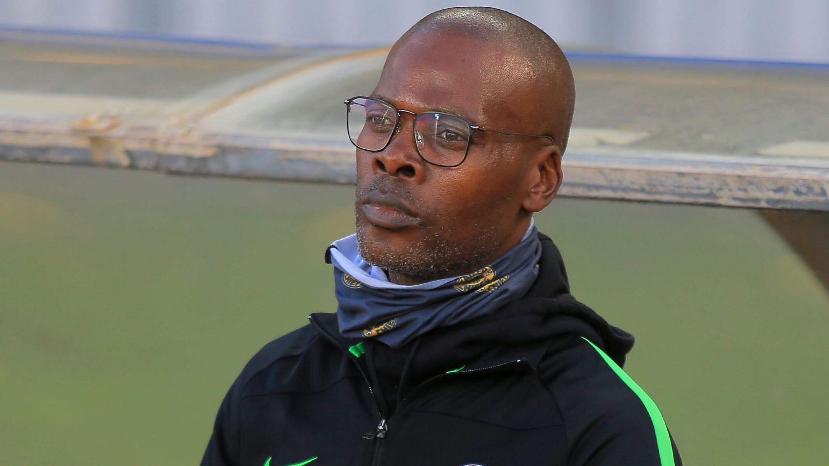 Kaizer Chiefs interim coach Arthur Zwane reacts during their Caf Champions League semi final first leg against Wydad Casablanca at Stade Mohamed V in Casablanca on Saturday