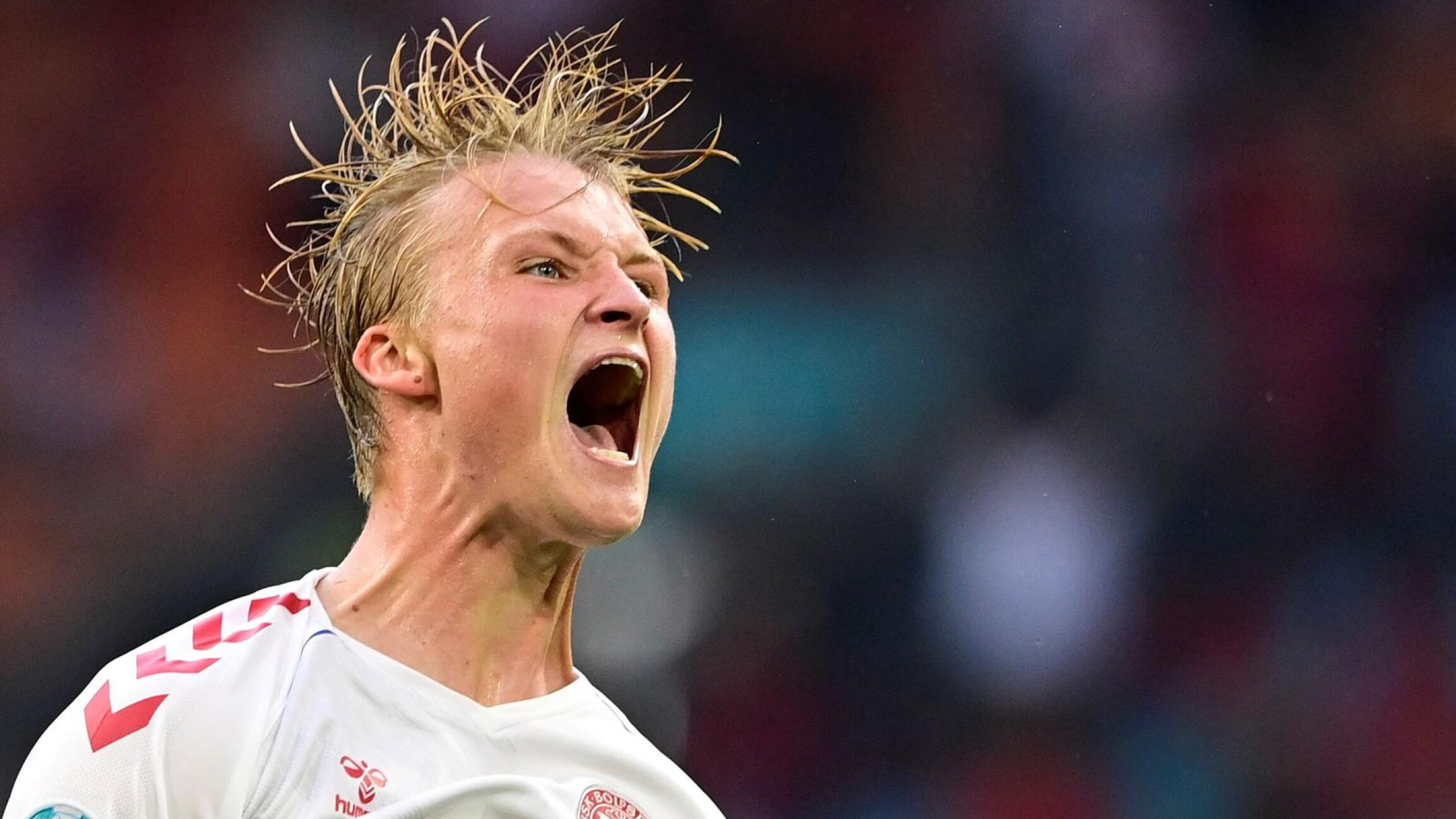 Denmark's Kasper Dolberg celebrates after scoring their second goal during their Euro 2020 game against Wales on Saturday