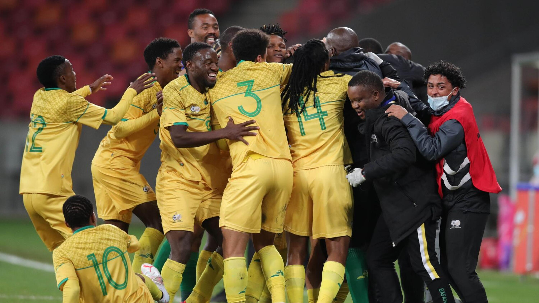Bafana Bafana players celebrate Yusuf Maart's goal during their Cosafa Cup semi-final clash against Mozambique at Nelson Mandela Bay Stadium in Gqeberha on Friday