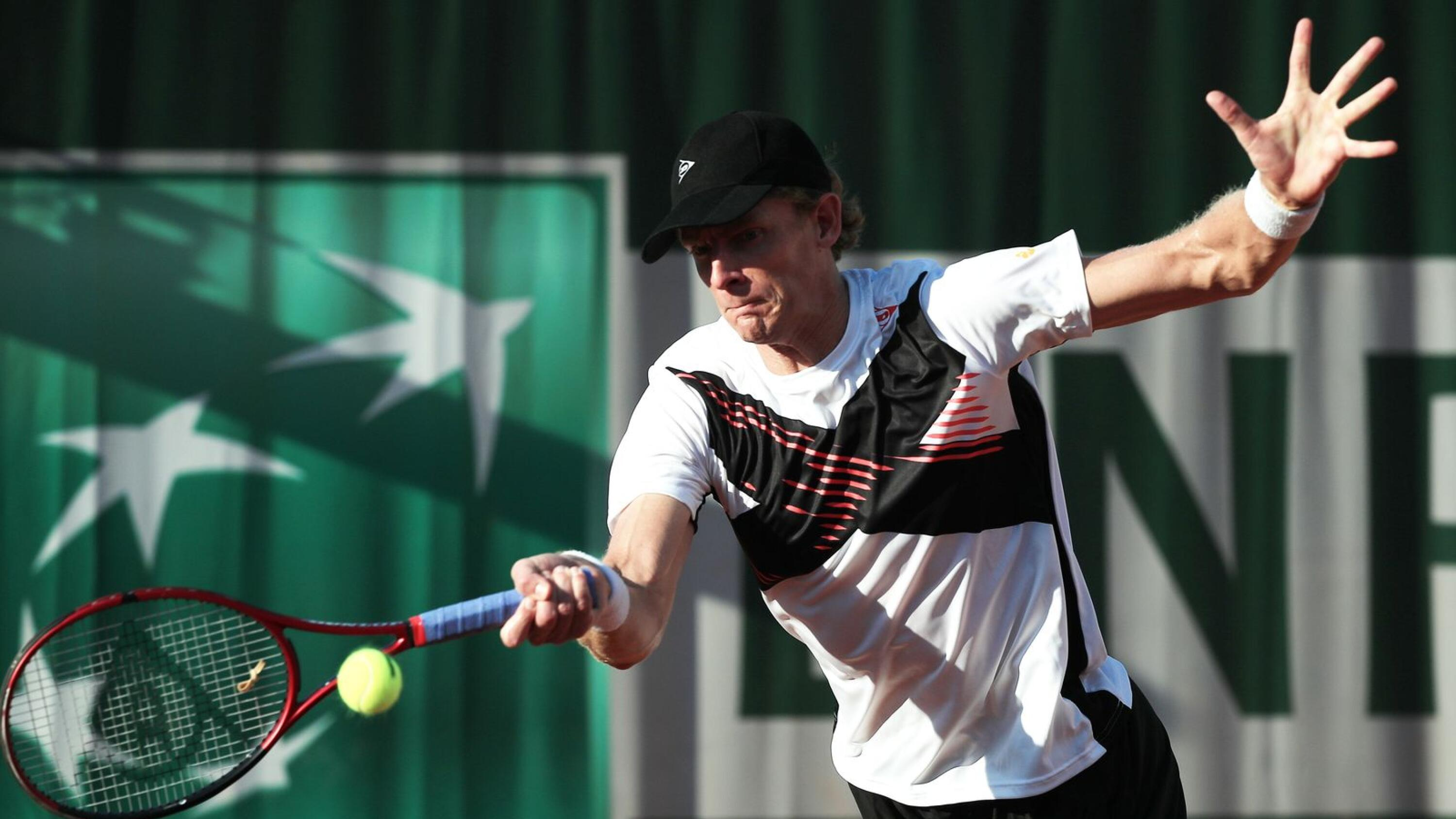 Kevin Anderson of South Africa hits a forehand during the first round match against Kwon Soon-woo of South Korea