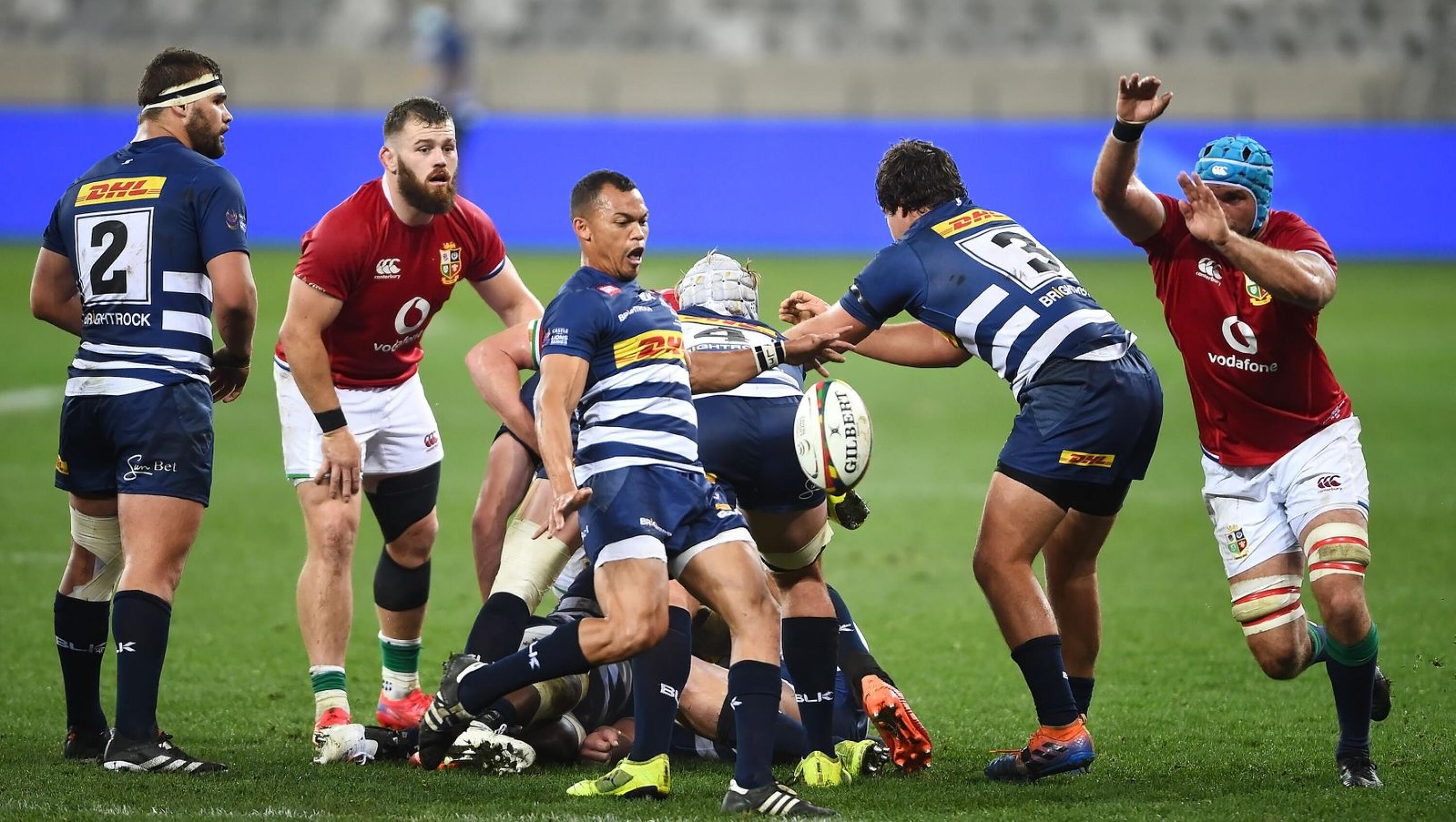 Godlen Masimla of the Stormers kicks the ball from a scrum during their game against the British & Irish Lions at the Cape Town Stadium on Saturday