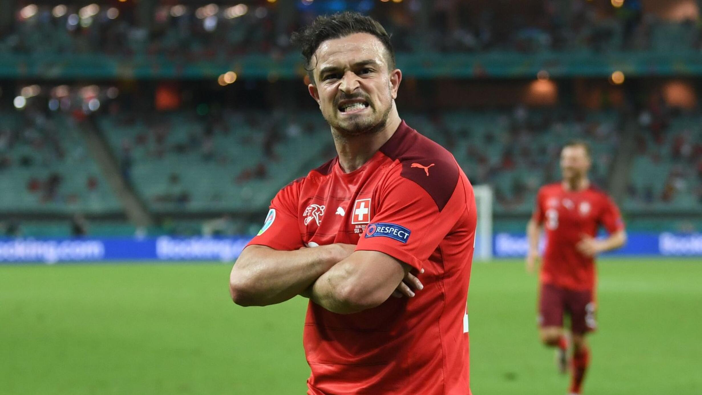 Switzerland's Xherdan Shaqiri celebrates after scoring their third goal in their Euro 2020 game against Turkey at the Baku Olympic Stadium on Sunday