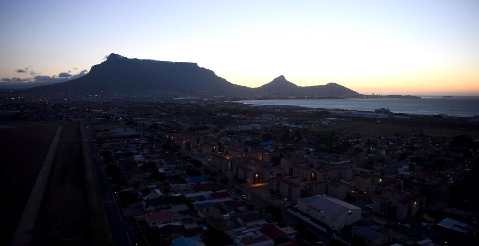 Cape Town Aerial view of Table Mountain.