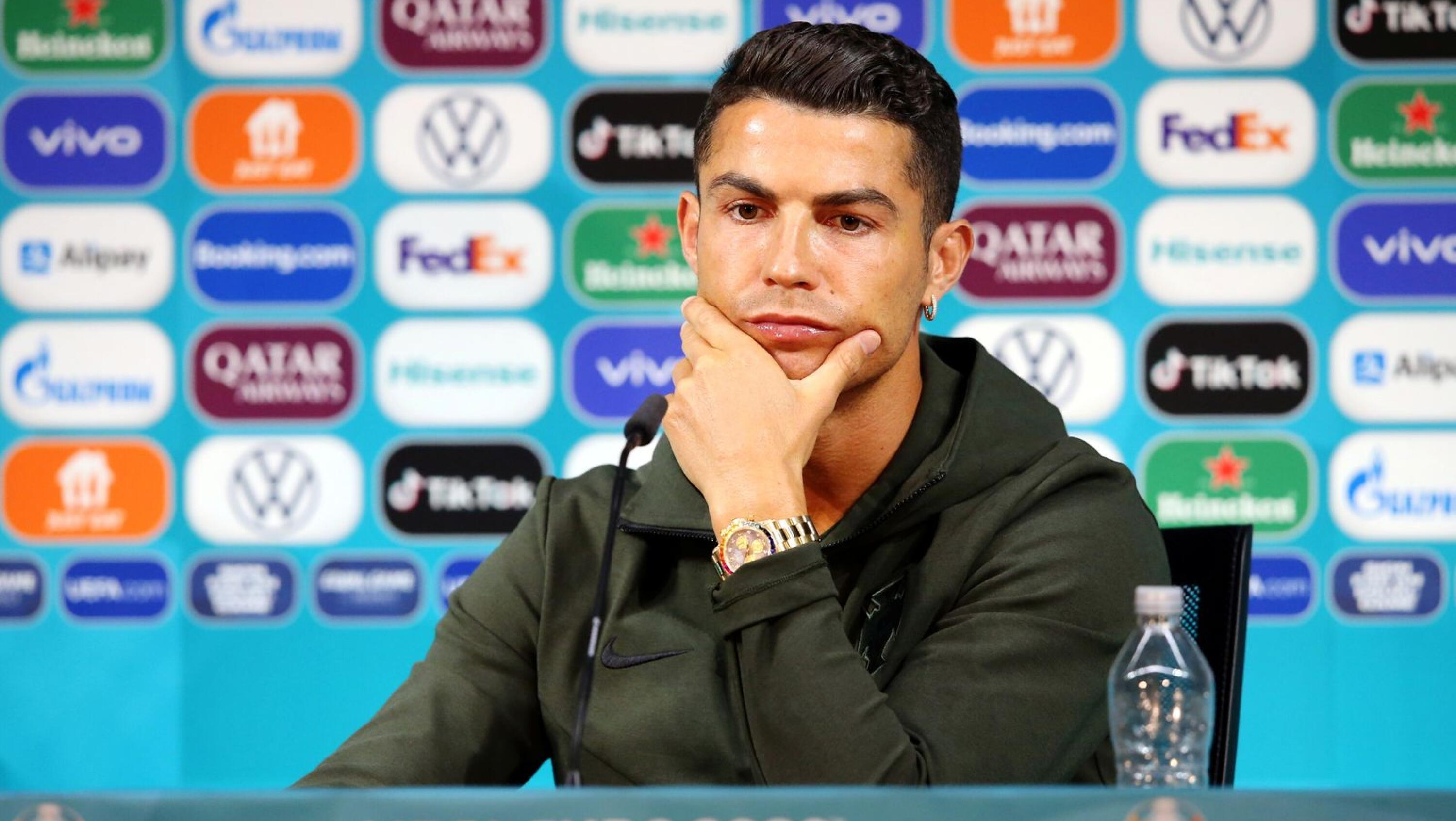 Portugal's Cristiano Ronaldo speaks during a press conference ahead of their match against Hungary