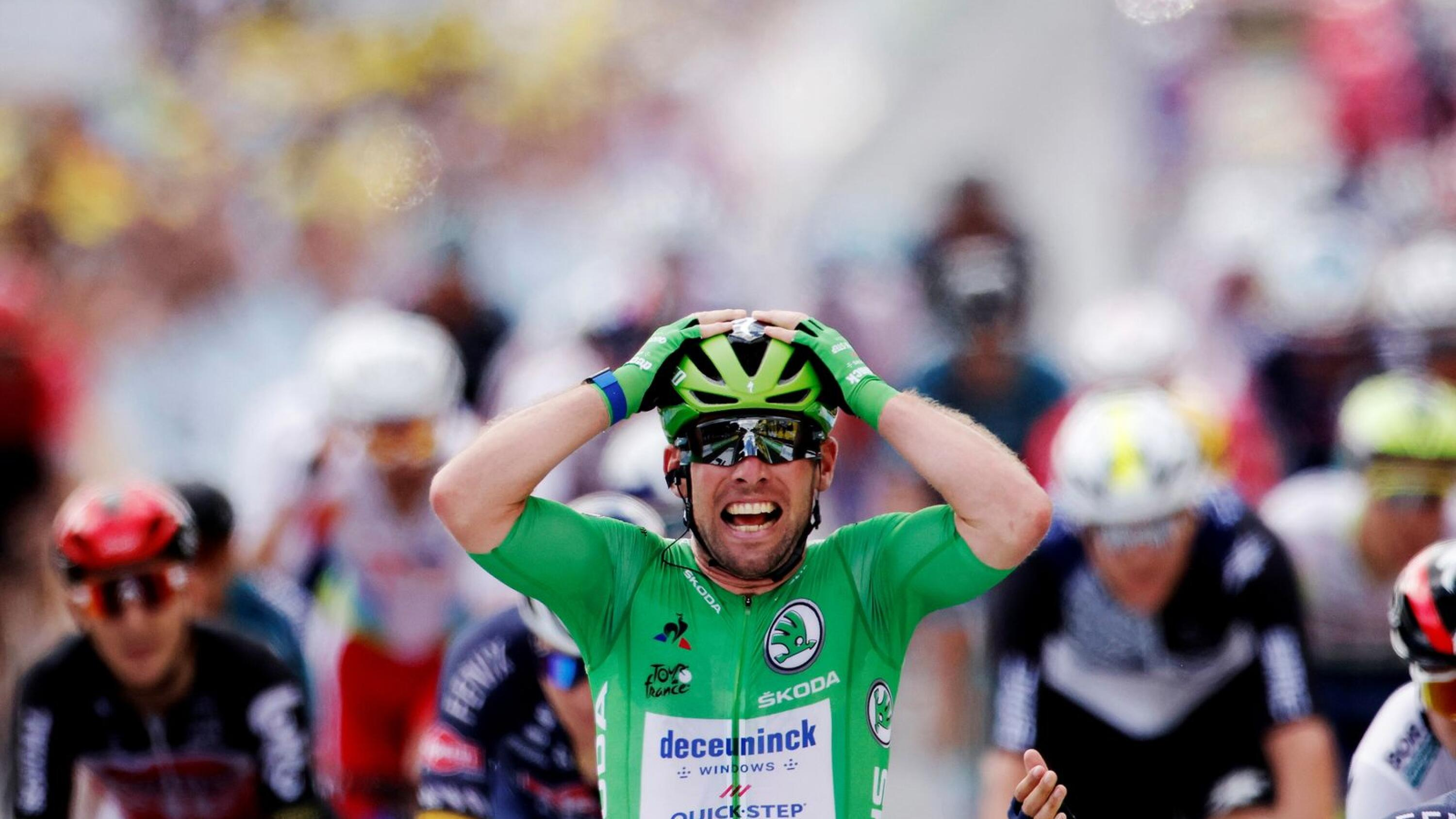 Deceuninck–Quick-Step rider Mark Cavendish of Britain celebrates after winning stage 6 of the Tour de France on Thursday. Photo: Stephane Mahe/Reuters
