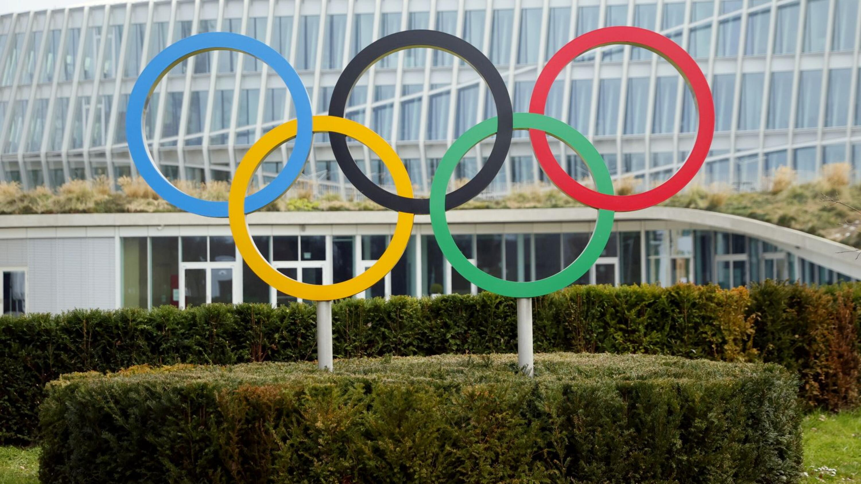 The Olympic rings are pictured in front of the International Olympic Committee (IOC) headquarters