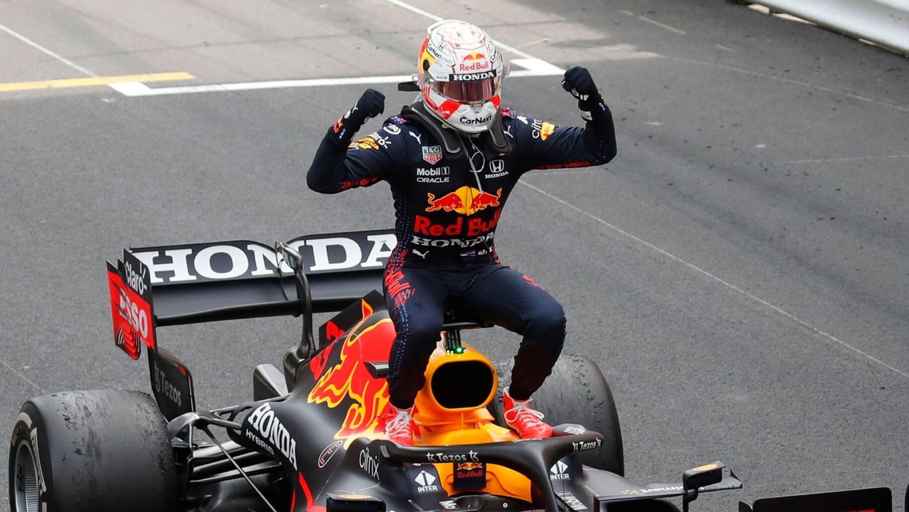 Red Bull's Max Verstappen celebrates after winning the Monaco Grand Prix