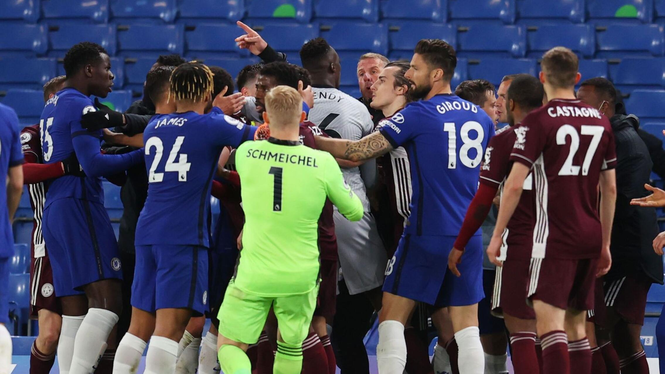 Leicester City and Chelsea players clash
