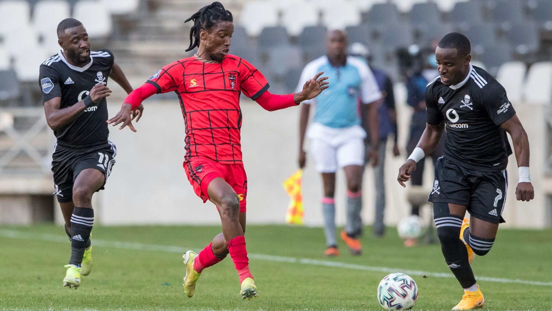 Marks Munyani of TS Galaxy FC takes on Orlando Pirates' Gabadnho Mhango