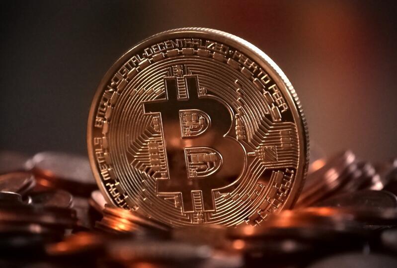 A representation of a stack of bitcoin.