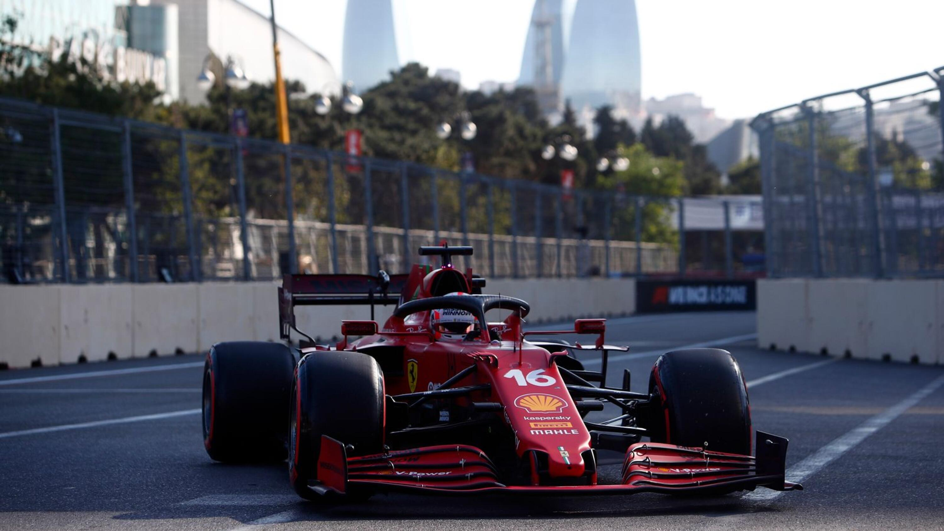 Ferrari's Charles Leclerc after qualifying in pole position for Sunday's Azerbaijan Grand Prix