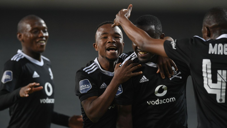 Orlando Pirates' Gabadinho Mhango celebrates with teammates after scoring the winning goal in their DStv Premiership game against AmaZulu