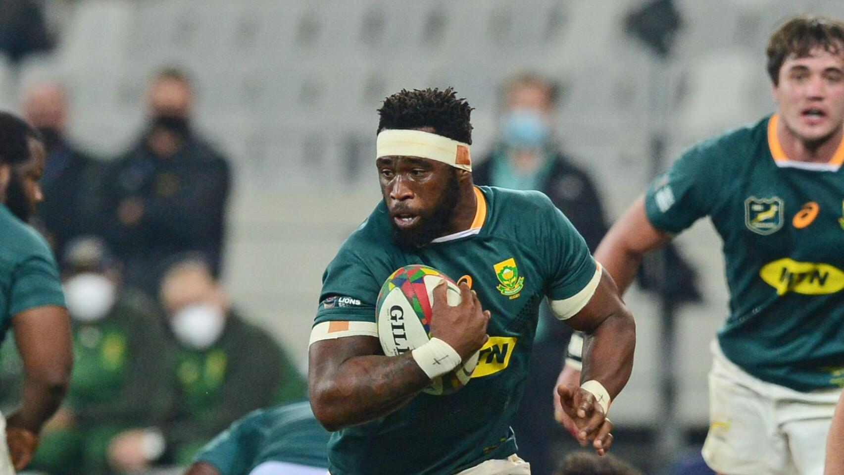 Springbok captain Siya Kolisi carries the ball during the first Test against the British and Irish Lions at Cape Town Stadium last week