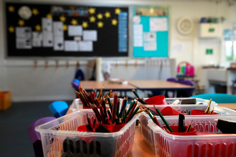 school stationery on an empty desk.