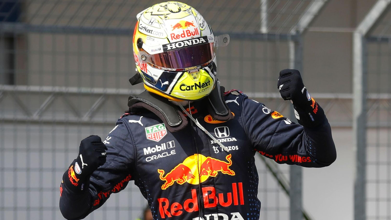 Red Bull's Max Verstappen celebrates after winning the Austrian Grand Prix on Sunday