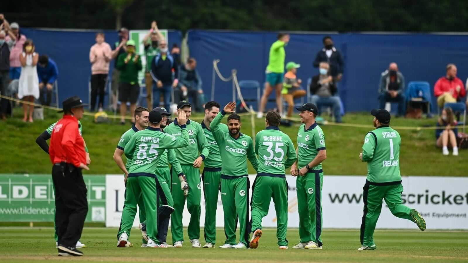 Ireland's players celebrate at the end of their ODI game against South Africa, which they won by 43 runs