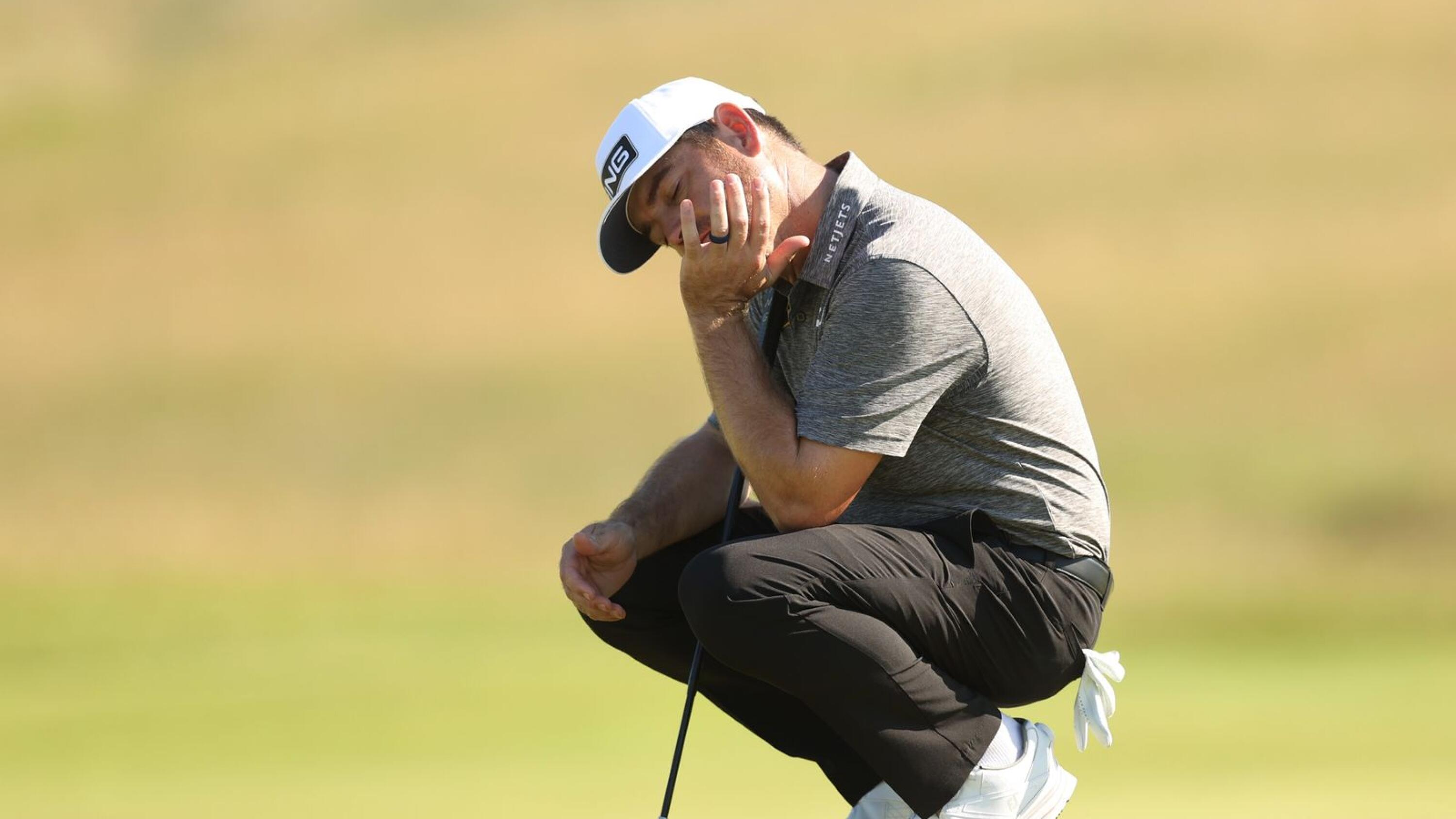 South Africa's Louis Oosthuizen reacts during the final round of the Open Championship