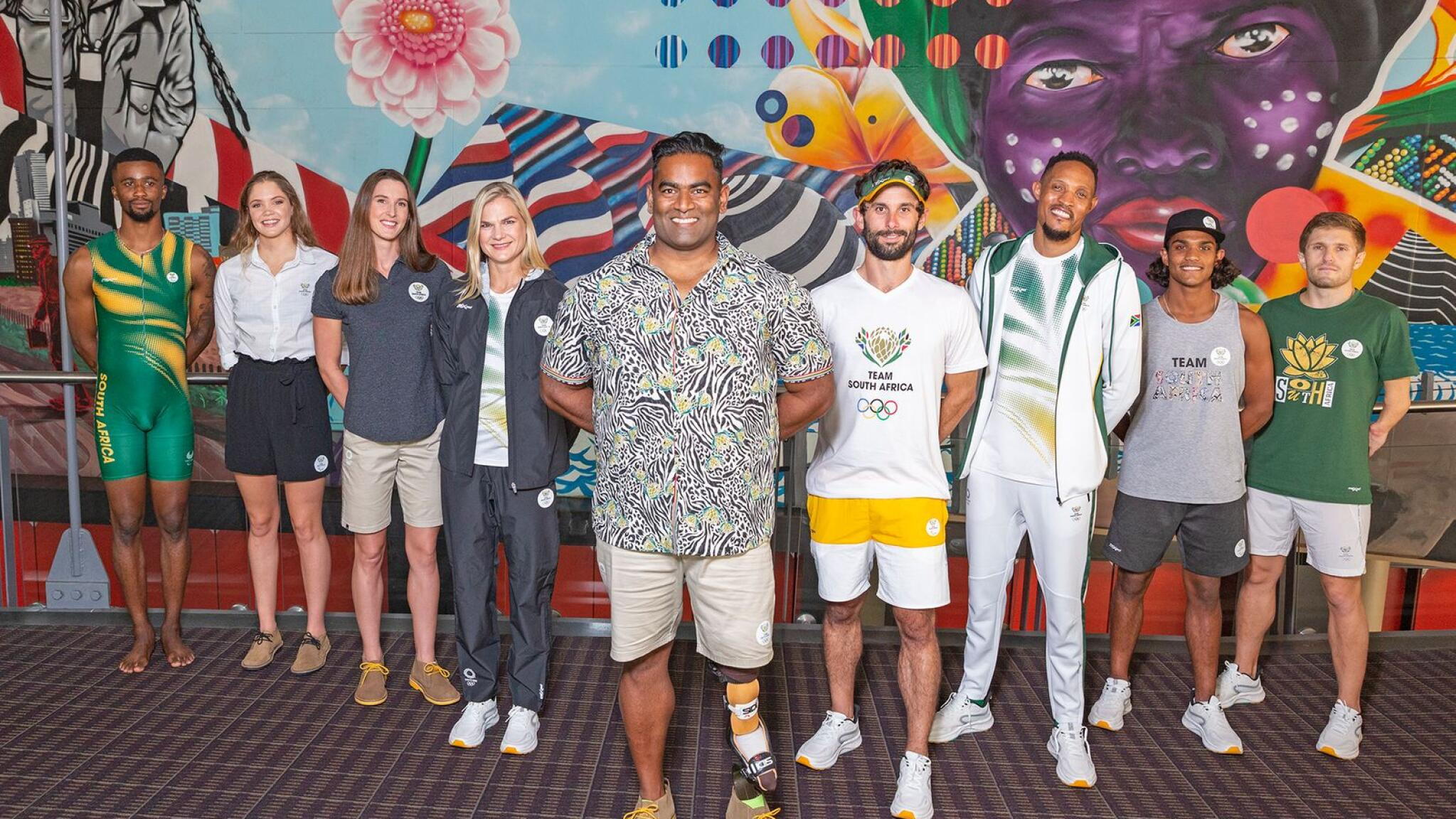 South African athletes during the launch of the Team SA kit for the 2020 Tokyo Olympics