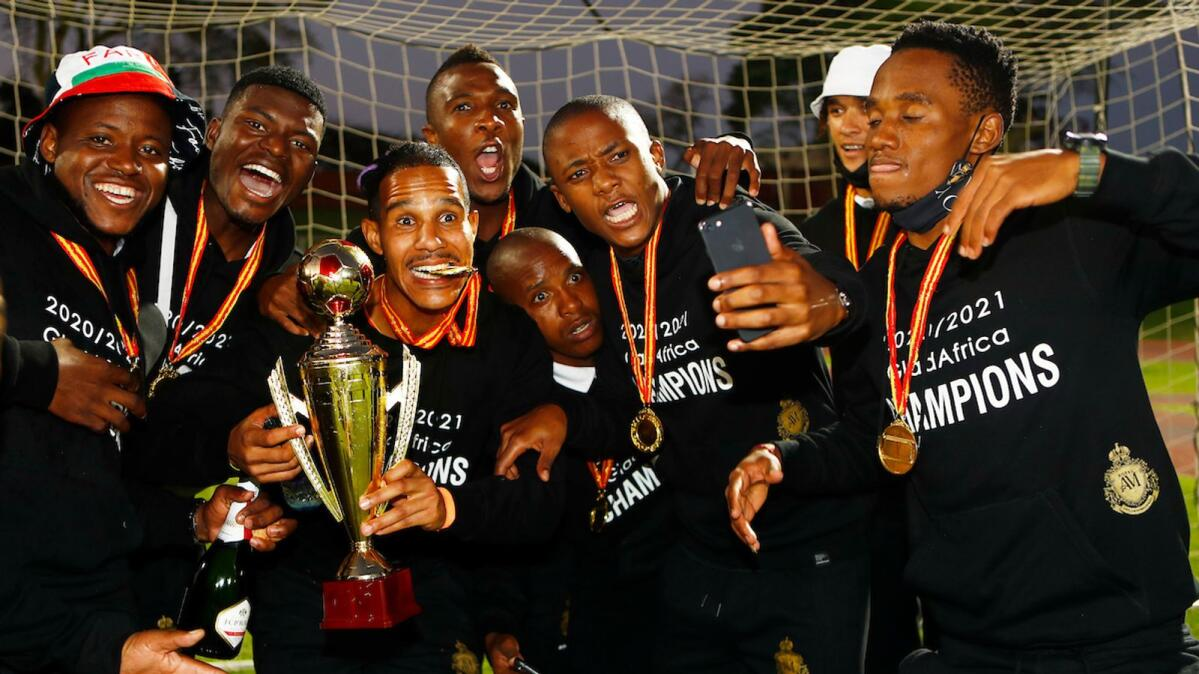 Royal AM FC players celebrate their win after their GladAfrica Championship game against Cape Town All Stars at Chatsworth Stadium