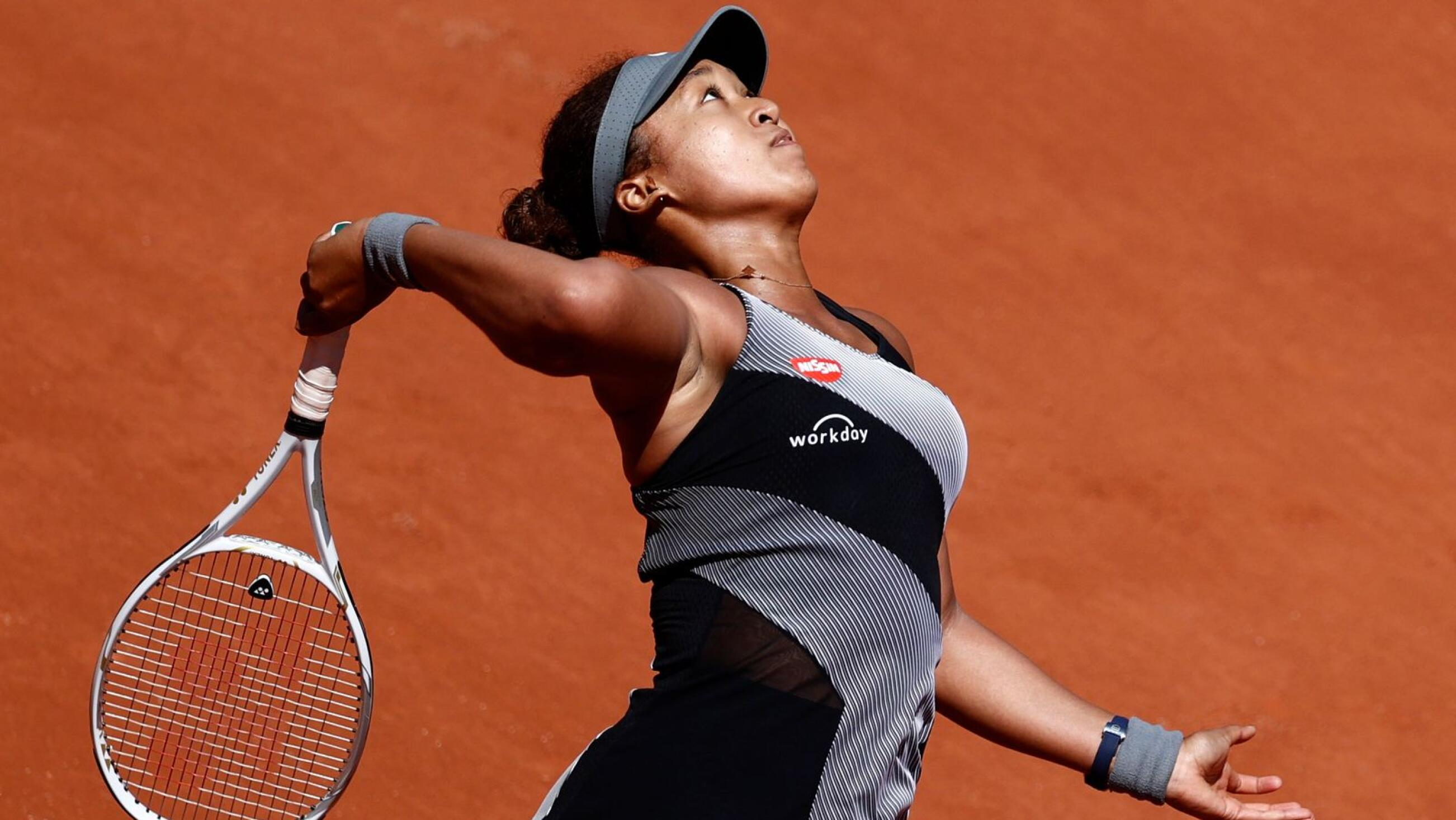 Japan's Naomi Osaka in action during her French Open first round match against Romania's Patricia Maria Tig