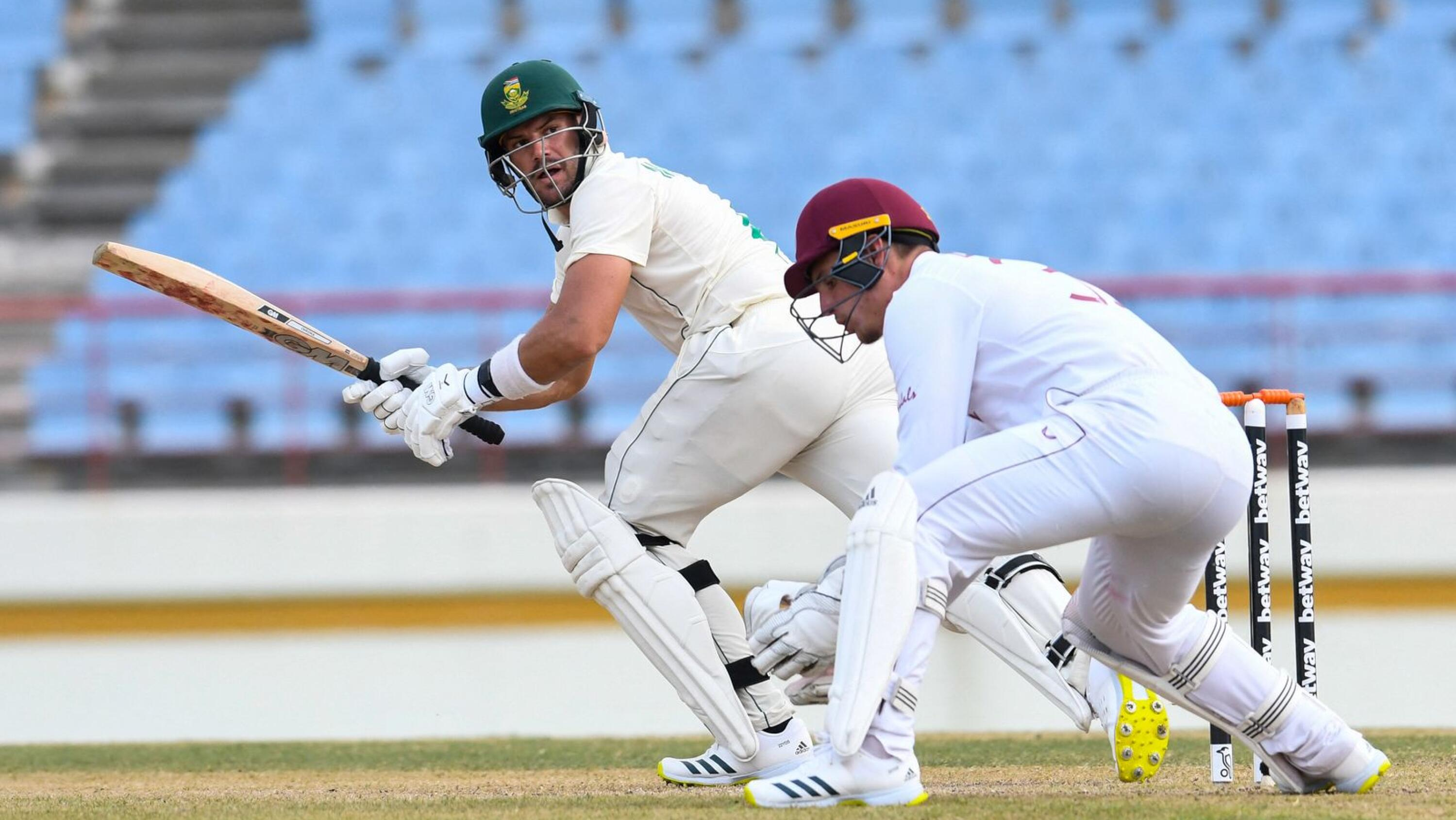 Aiden Markram of South Africa hits pass Joshua de Silva of the West Indies during day 1 of the first Test at Darren Sammy Cricket Ground, Gros Islet, Saint Lucia